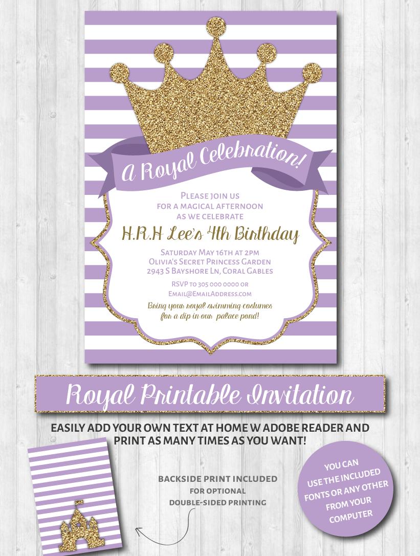 Princess Party Invitations: Purple & Gold Glitter | She\'s Royal ...