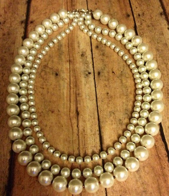 White Pearl Three Strand Beaded Necklace via Etsy