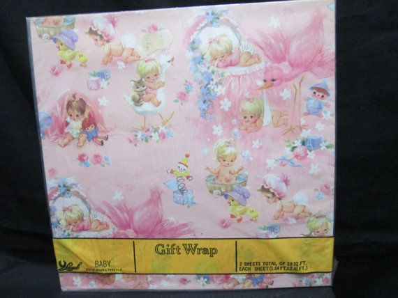 Vintage new in package 2 sheets american by vintageooakfinds vintage new in package 2 sheets american greetings laurel baby gift wrap wrapping paper pink girl cats teddy stork blocks toys new old stock m4hsunfo