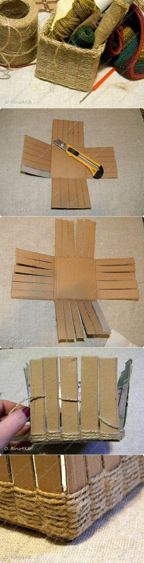 Come fare ceste porta tutto con cartoni riciclati e spago ...