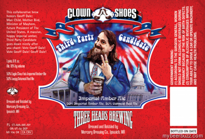 """Clown Shoes / Three Heads Brewing """"Third Party Candidate""""–Geoff Dale"""