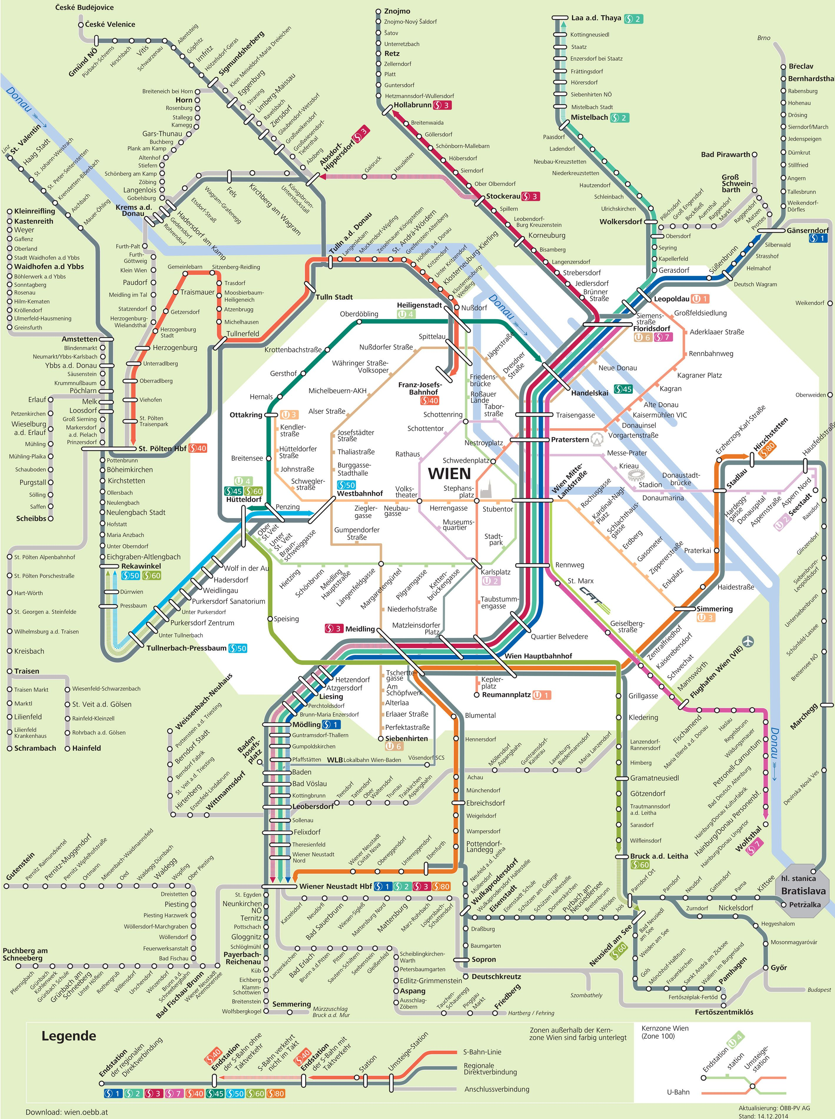 Map Of Vienna S Bahn Train Urban Commuter Suburban Railway