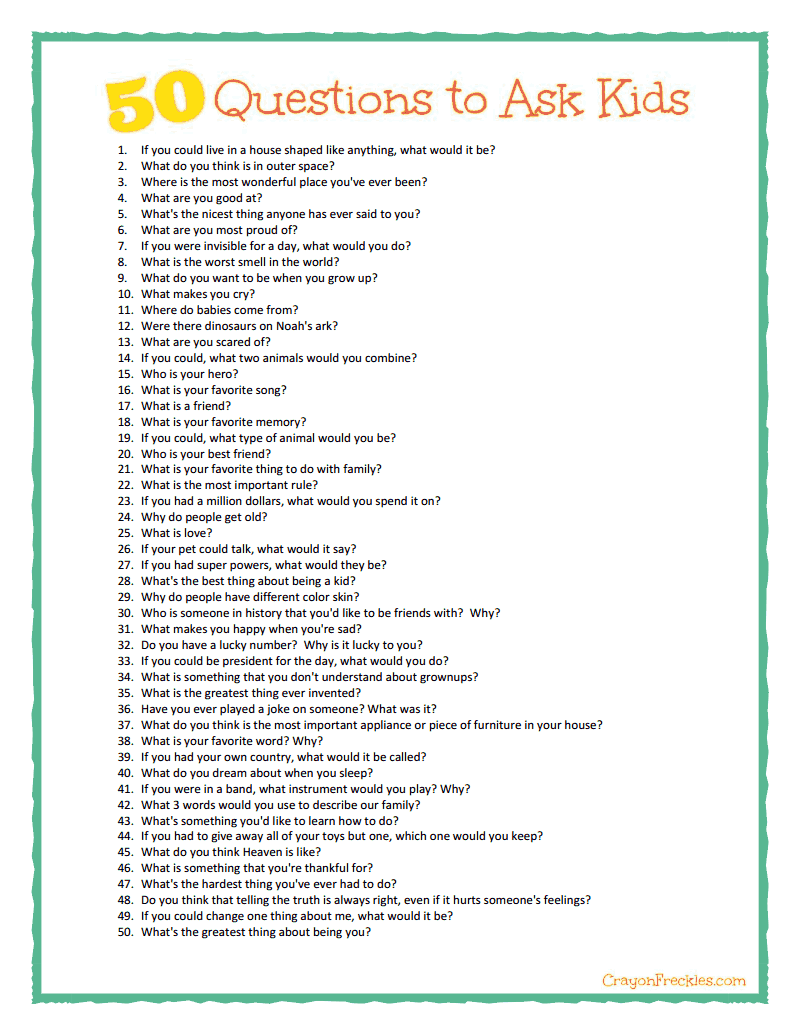 50 Questions to Ask Kids plus free printable Cool