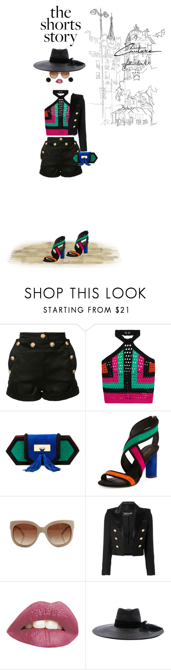 """""""Girls' Night Out"""" by onesweetthing ❤ liked on Polyvore featuring Balmain, STELLA McCARTNEY, Maison Michel, Humble Chic, shorts, MyStyle, balmain and boldcolors"""