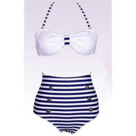 Halter Striped High Waisted 50s Bikini Swimwear | Women