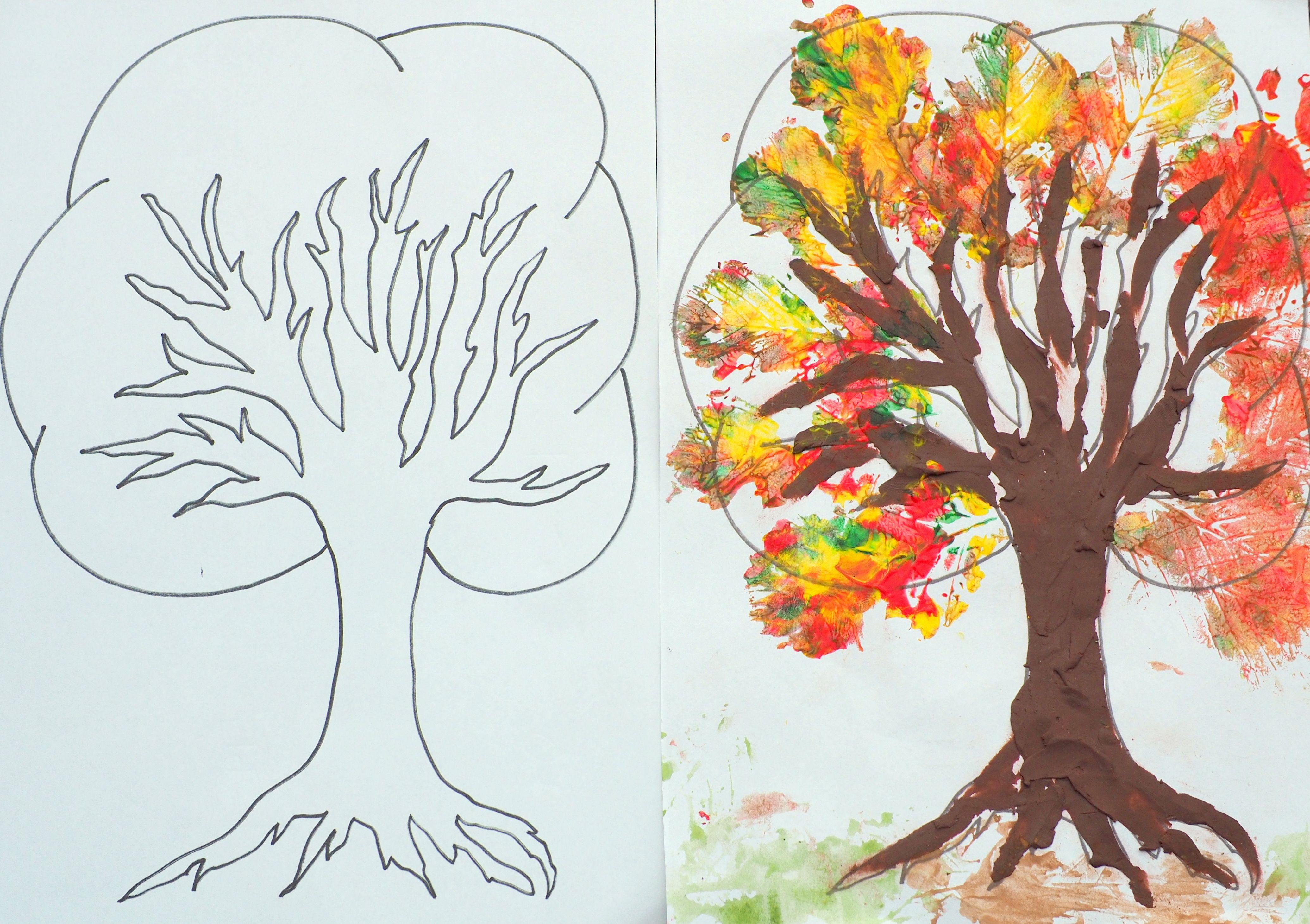 Szablon Drzewa Do Malowania I Wyklejania Moje Dzieci Kreatywnie Art For Kids Moose Art Painting