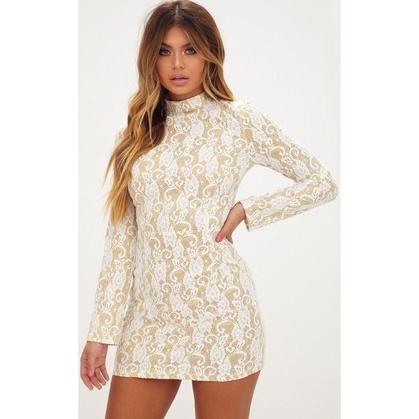 White Glitter Lace High Neck Bodycon Dress ($21) ❤ liked on ...