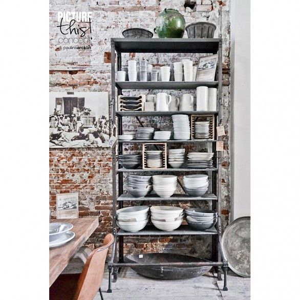 One World Interiors - Archive closet with stone shelfs