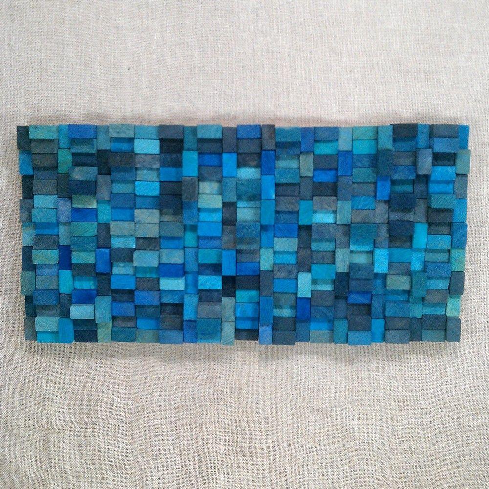 Easter sale wall sculpture aqua blue wood blocks via