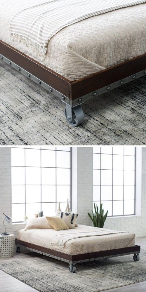 Platform Cart Bed, Home Decor Idea #affiliate #rustic #industrial #bedroom #