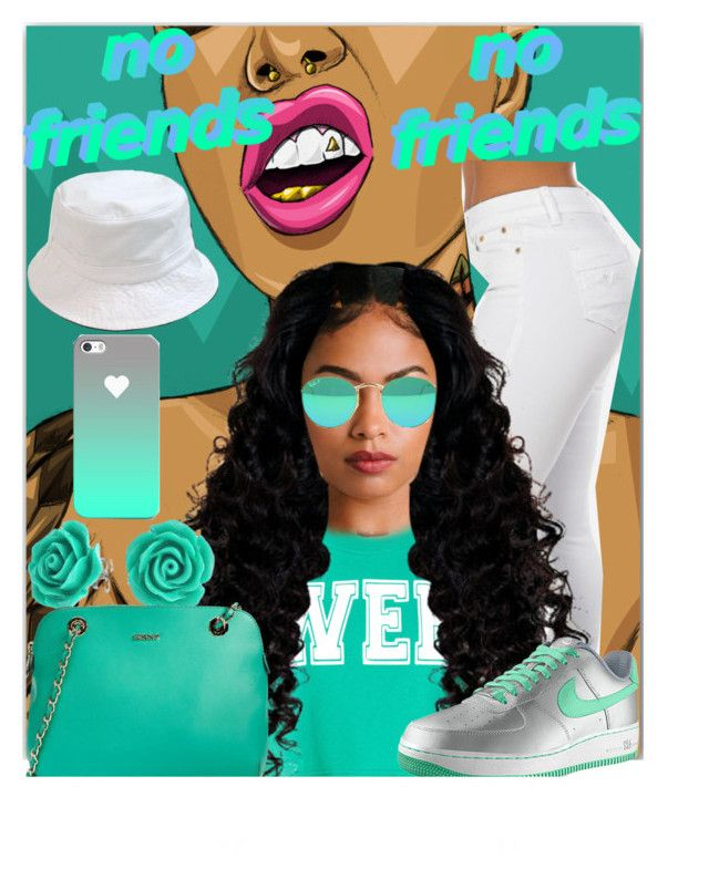 """""""Dweeb """" by ladiijae ❤ liked on Polyvore featuring Topshop, NIKE, Bling Jewelry and DKNY"""