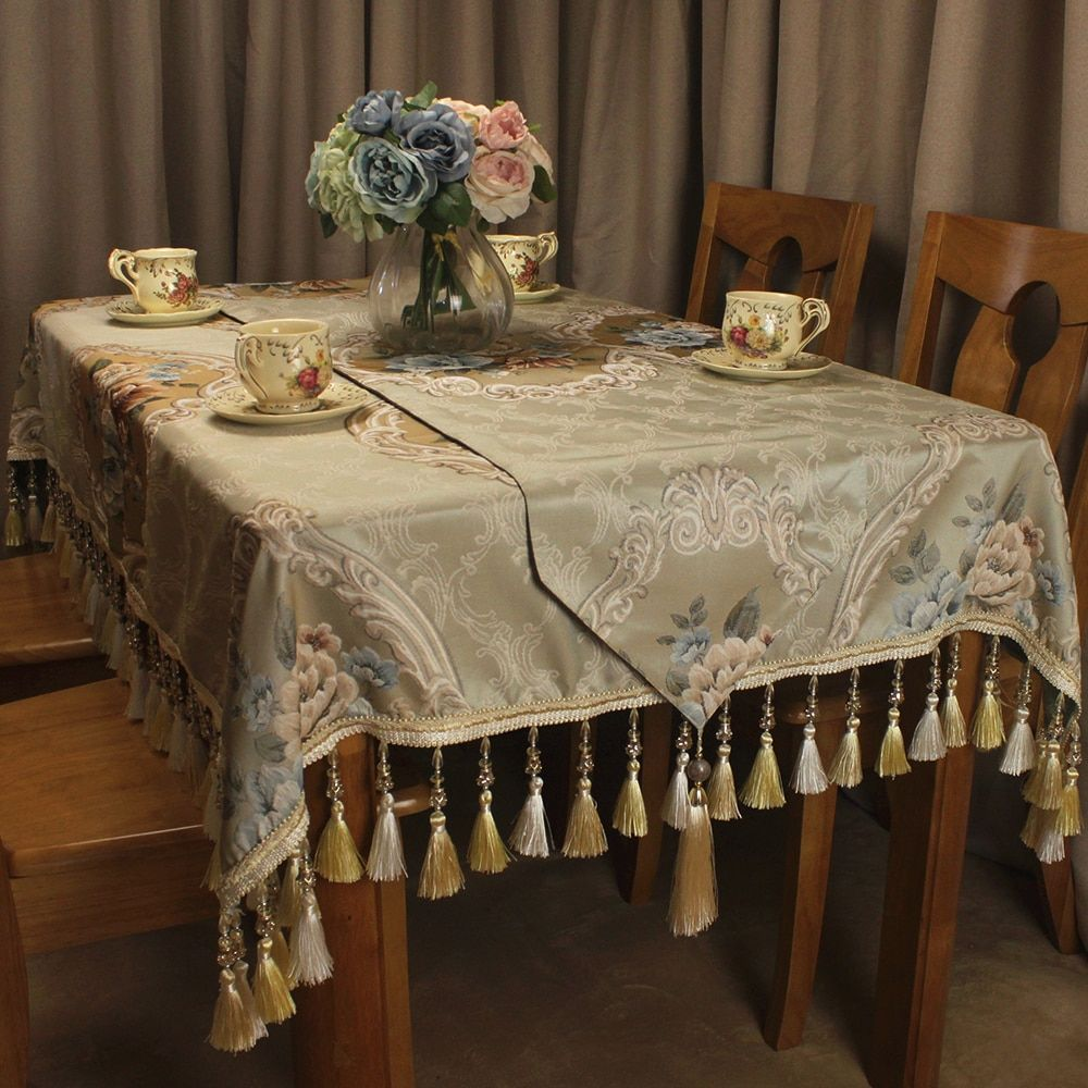 Classic Beige Table Cloth Jacquard Floral Formal Vintage Table