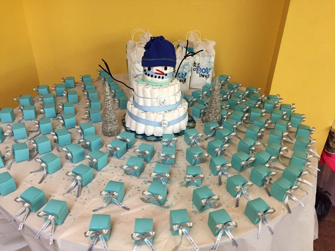 Snowman diaper cake winter themed baby shower