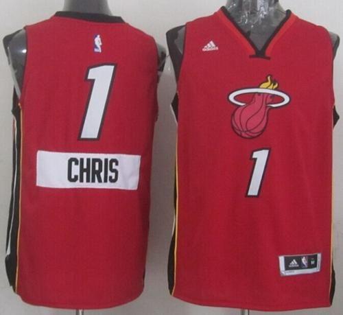 de87898b0 Heat  1 Chris Bosh Red 2014-15 Christmas Day Stitched NBA Jersey ...