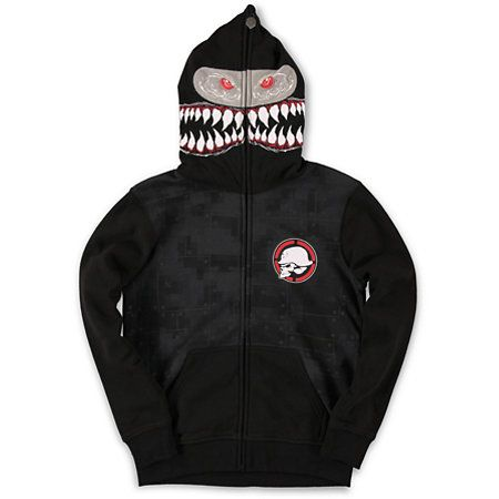 501d5f1ac Free your ferocious side with a new Metal Mulisha boys Shark Bait black  full zip face mask hoodie. Scare your friends with the full zip up shark  teeth and ...