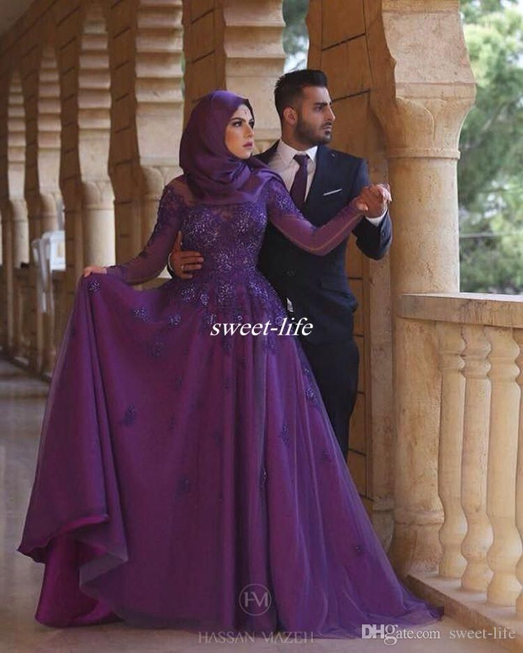 Long Sleeve Purple Women Muslim Hijab Evening Dresses Plus Size A-Line  Floor Length Vintage Lace 2017 Mother of the Bride Dresses Prom Gowns  Evening Dresses ... e934838fa90d