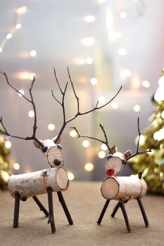 A reindeer decoration made from birch branches and twigs is easy to create  with a few simple tools. - How To Make A Birch Wood Reindeer Christmas Decorations DIY