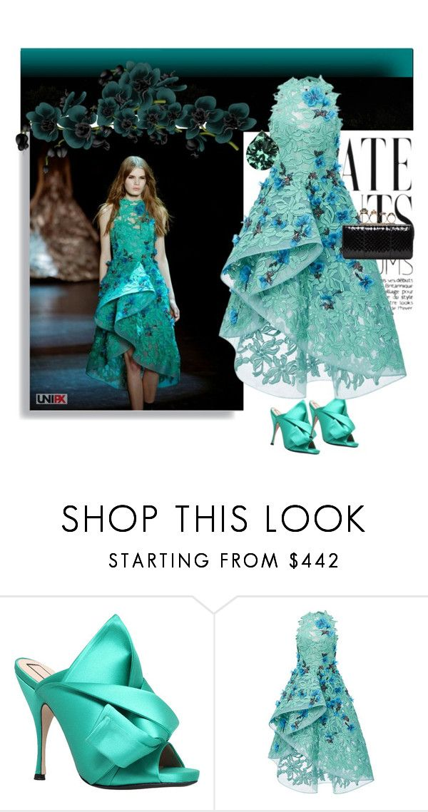 """""""Climate change is real. Embrace green"""" by shreya-stark ❤ liked on Polyvore featuring N°21, Monique Lhuillier, Alexander McQueen, GREEN, gown, Gogreen and lacegown"""