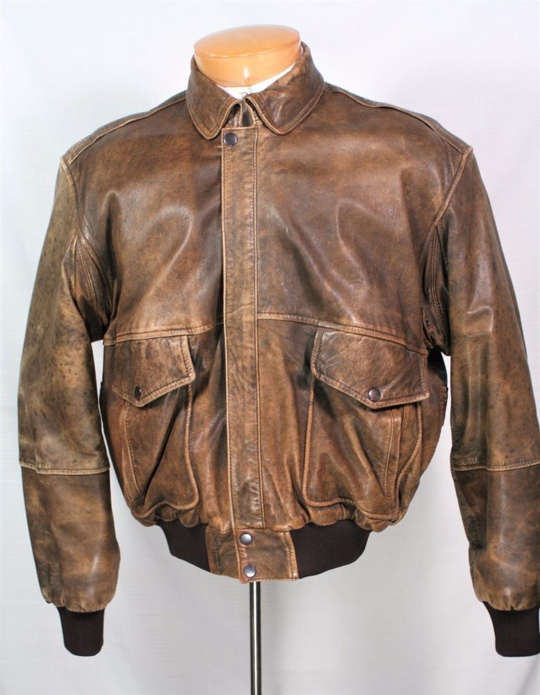Vintage distressed brown leather bomber jacket lined with world vintage distressed brown leather bomber jacket lined with world map l gumiabroncs Choice Image