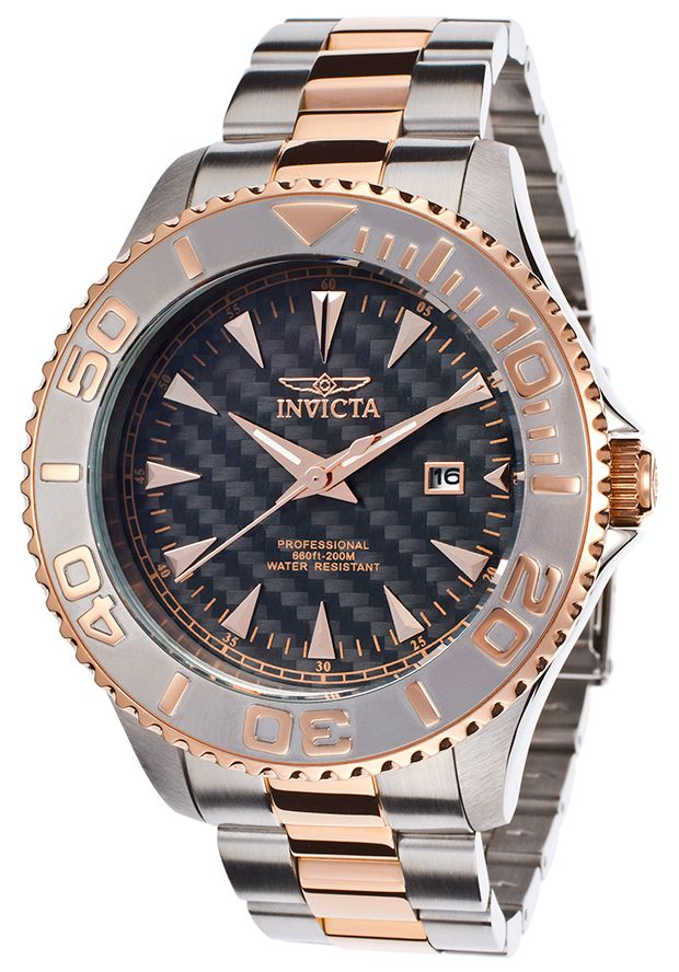 Men's Pro Diver Carbon Fiber Dial Stainless Steel and 18K Rose Gold Plated SS