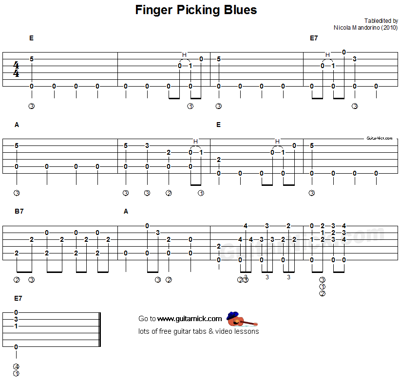 Learning Blues Piano From Music Score: Fingerpicking Blues - Fingerstyle Guitar Tab