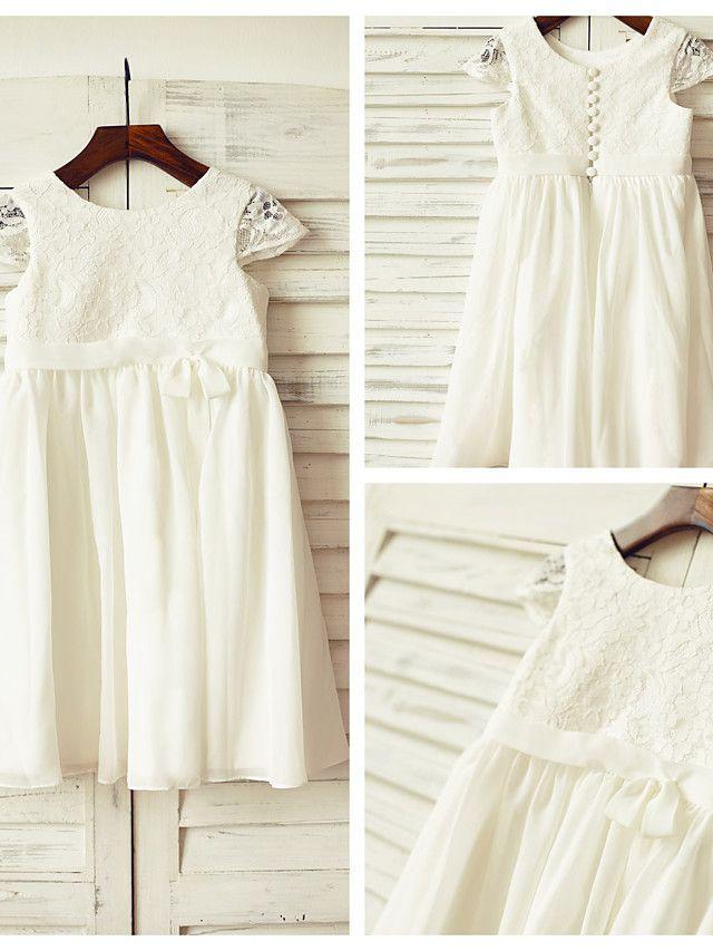 77b7c4258 Sheath/Column Knee-length Flower Girl Dress - Chiffon / Lace Short Sleeve -  USD $49.99