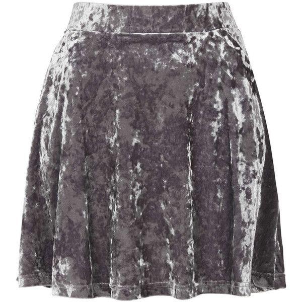 TOPSHOP Grey Crush Velvet Skater Skirt (510 ARS) ❤ liked on Polyvore featuring skirts, bottoms, faldas, topshop, grey, circle skirts, topshop skirts, grey skirt, skater skirt and gray skater skirt