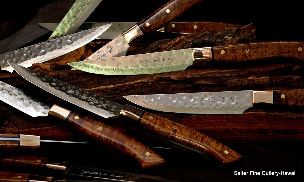 Custom steak knife sets by salter fine cutlery