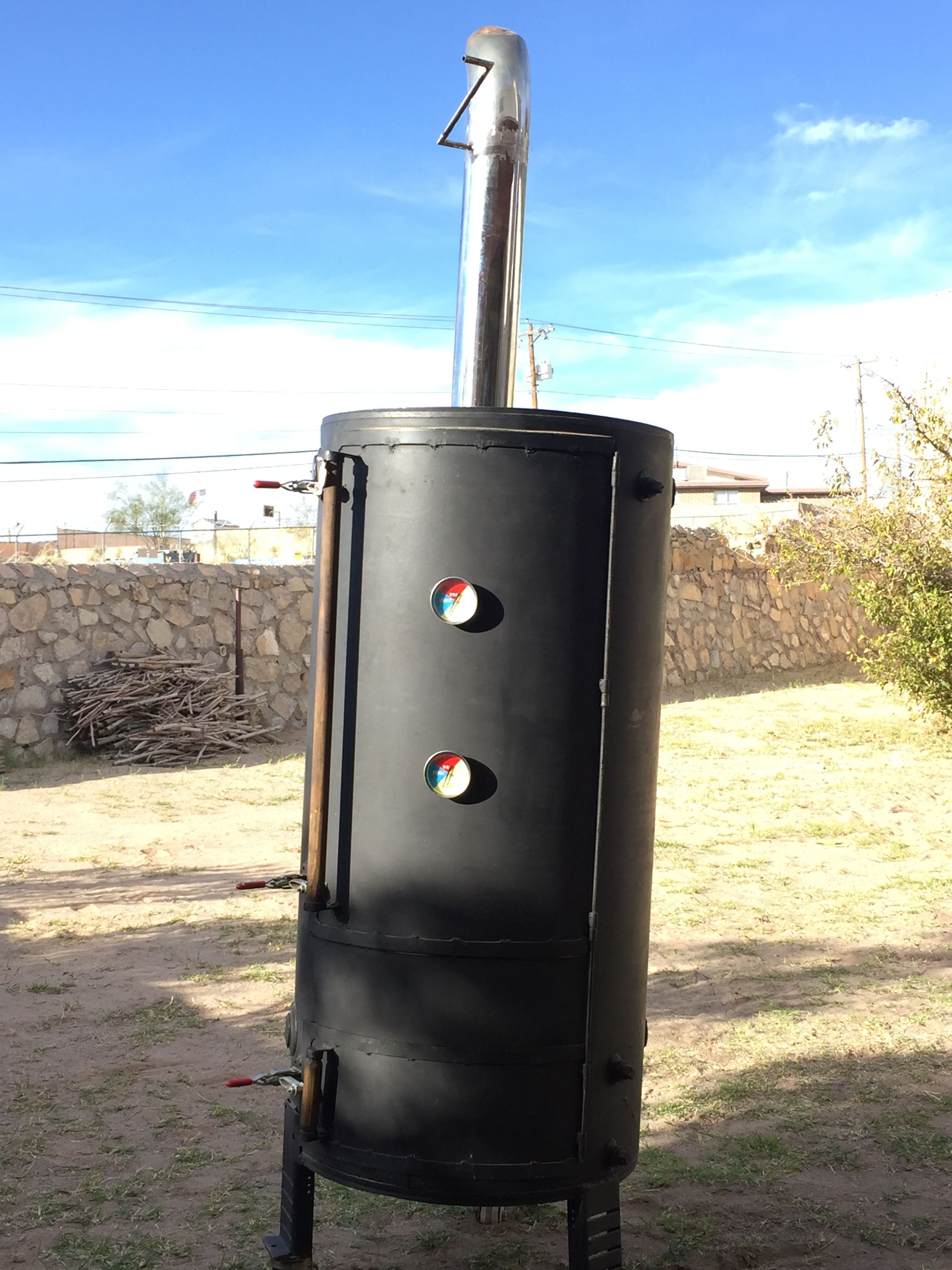 100 Gallon Water Heater Smoker With Semi Truck Smoke Stack And Damper Bbq Pit Water Heater Outdoor Decor