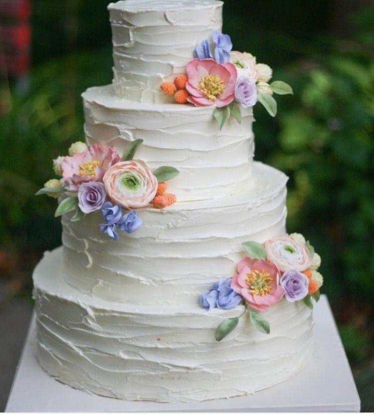 Four Tier Wedding Cake With Textured Buttercream | Edible Art Bakery U0026  Dessert Cafe, Raleigh