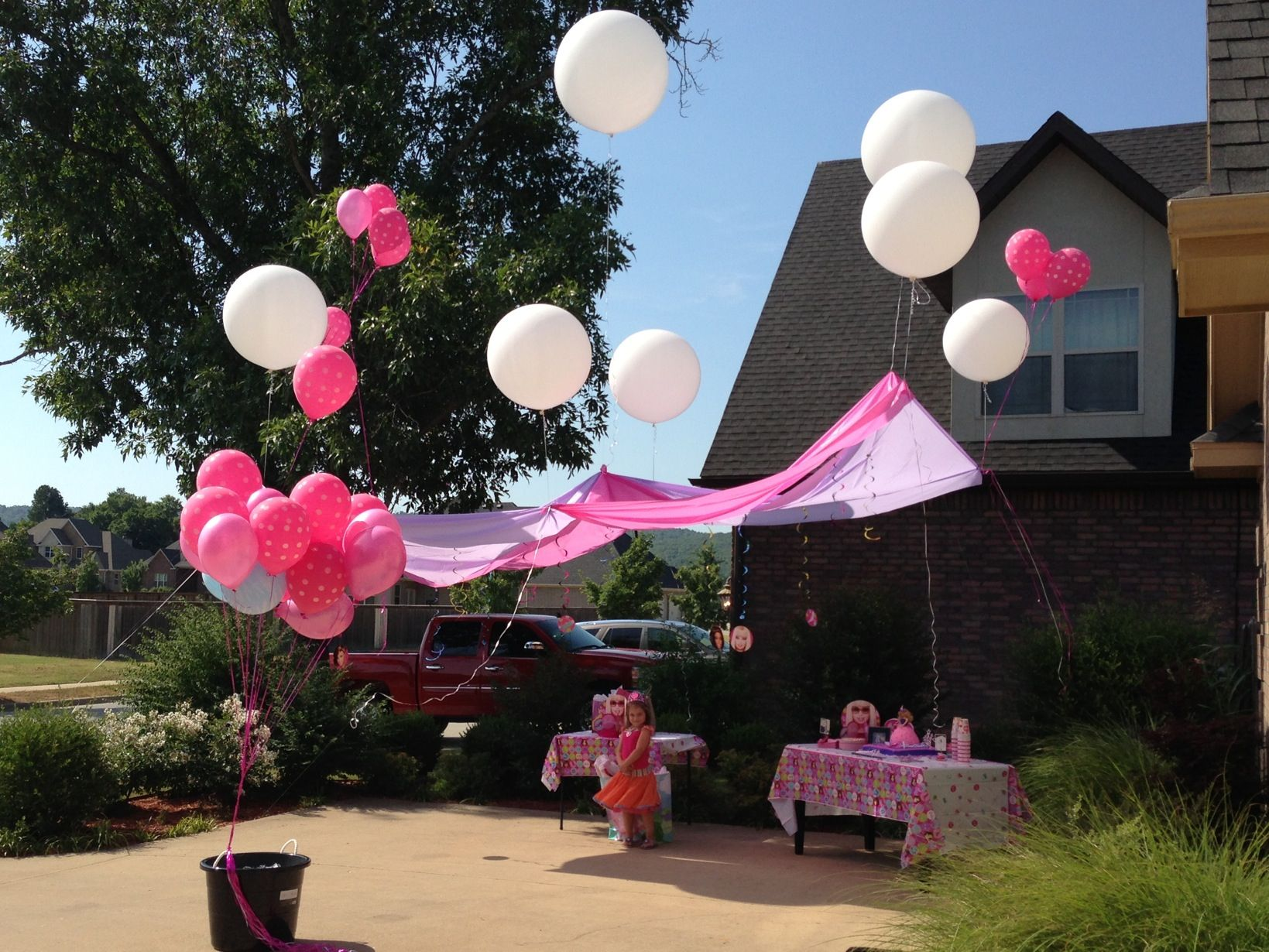 Floating Canopy Vinyl Table Cloths And Very Large Helium