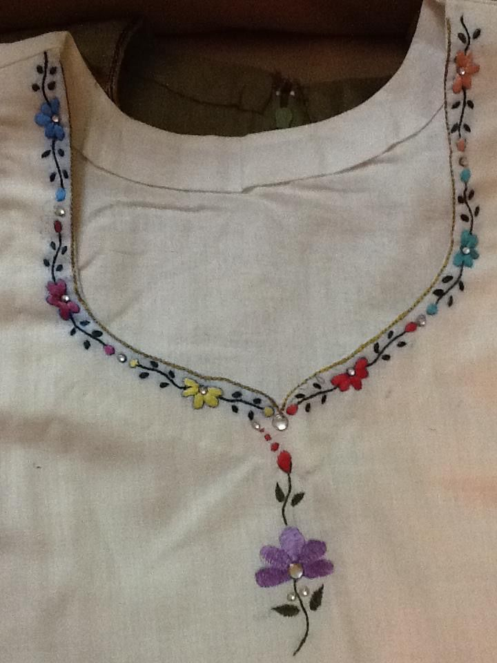Hand embroidered kurta neck pattern my embroidery
