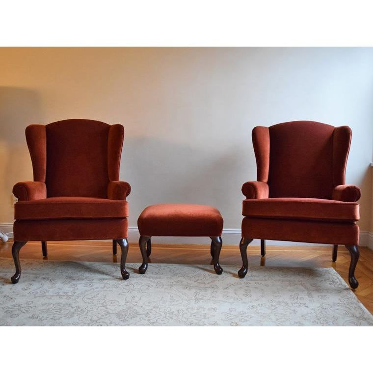 Vintage Velvet Wingback Chairs With Ottoman 3 Pieces In 2020 Wingback Chair Vintage Wingback Chair Velvet Wingback Chair