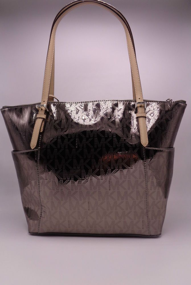 b48df8366 ... MICHAEL KORS NICKEL JET SET ITEM EW SIGNATURE MIRROR TOTE PURSE  30H2MTTT4Z NWT… ...