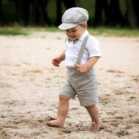fdc748237 Newsboy ring bearer outfit Baby boy linen suit Baptism shorts with ...