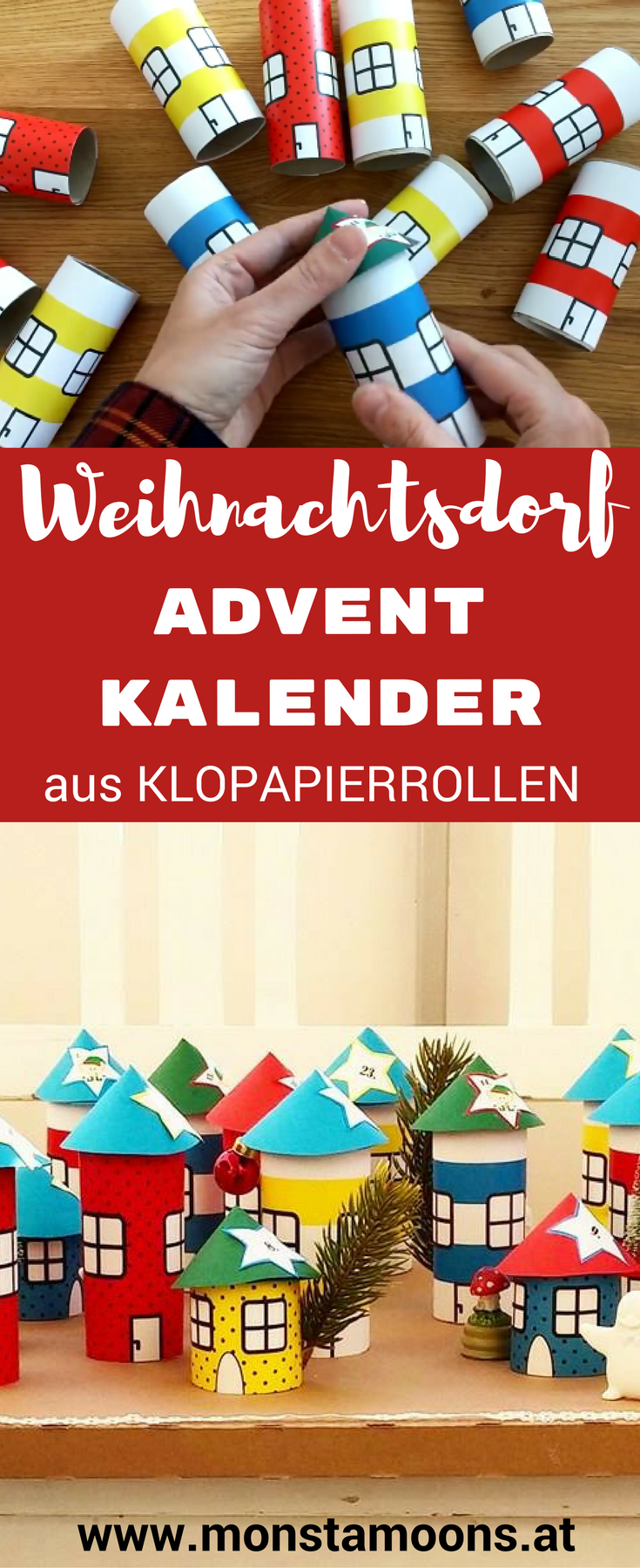 Adventskalender Toilettenpapierrollen Adventkalender Weihnachtsdorf | Diy - Kinder (diy For Kids