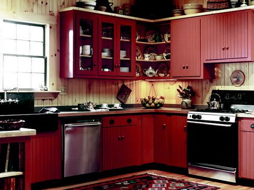 Beadboard Kitchen Cabinets Red Paint Cly