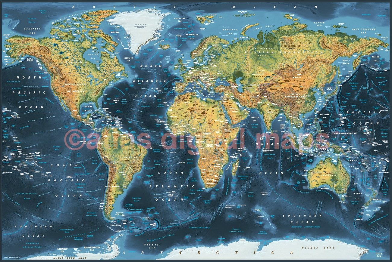 World map canvas navy land ocean physical rolledstd sale world map canvas navy land ocean physical rolledstd gumiabroncs Choice Image