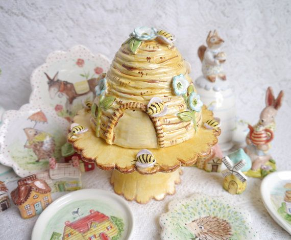 Large Ceramic Bee Hive Skep MADE TO ORDER 2 Pc Includes Plate