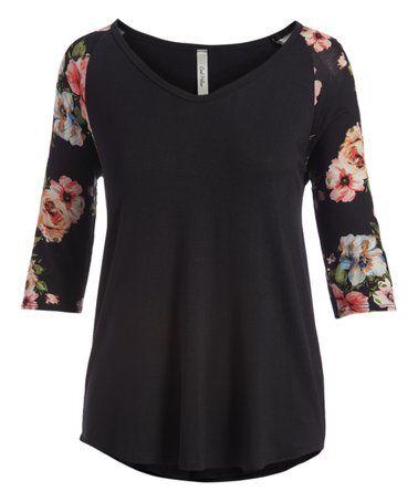 96087e32 Love this Black & Coral Floral Three-Quarter Sleeve V-Neck Raglan Top -  Women & Plus on #zulily! #zulilyfinds