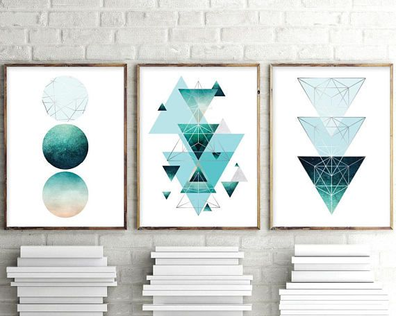 Aqua Teal Turquoise And Silver Geometric Wall Art Set Of 3 Etsy Geometric Art Prints Geometric Wall Art Prints