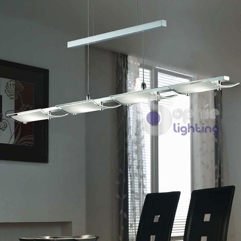 Lampadario A Sospensione Per Cucina.Lampada Lampadario Sospensione Led Design Moderno Acciaio