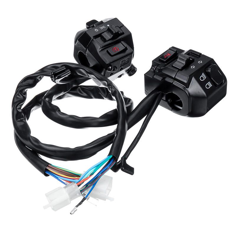 Left /& Right Motorcycle 7//8inch Handlebar Headlight Turn Signal Horn Switch High Low Beam Start Stop Switch Black