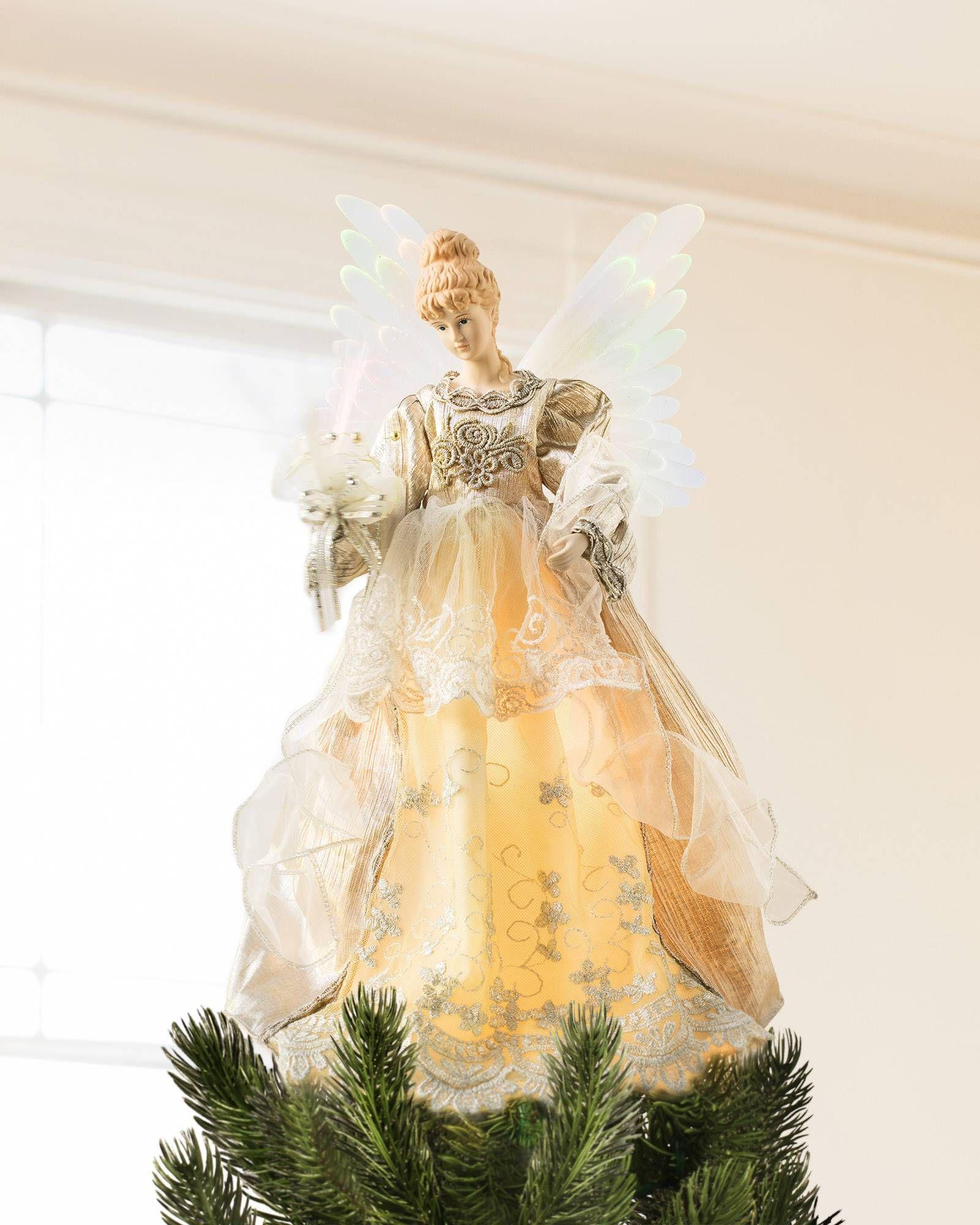 Fiber Optic Angel Tree Topper | Balsam Hill | Christmas Tree Toppers ...