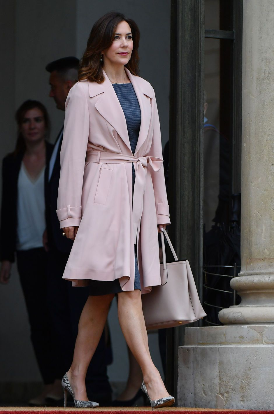 Crown Princess Mary of Denmark arrives at the Elysee palace for a meeting with French president's wife Brigitte Macron after a meeting on climate change, on June 6, 2017 in Paris.