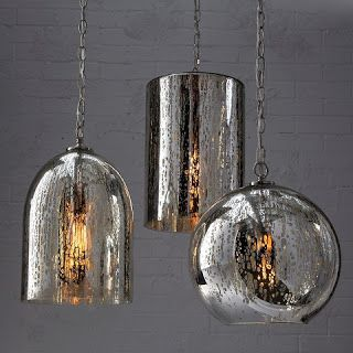 Chrome pendant Mercury lights - hard to go wrong when you're adding a metallic element!
