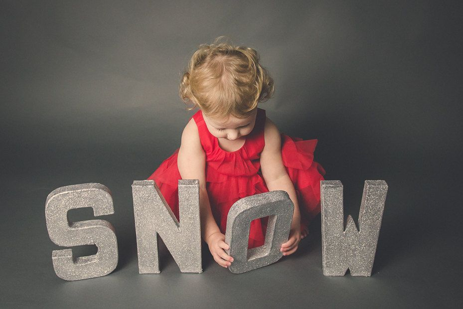 Snow letters christmas photo prop, Christmas photo prop, glitter letters photo prop, girls photo prop, boys photo prop, Christmas decoration by SparklepropsBoutique on Etsy