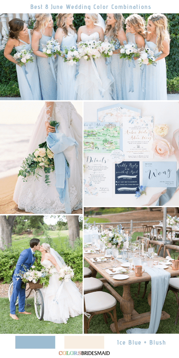 Best 8 June Wedding Color Combinations For 2019 Ice Blue Blush Colsbm Weddings Weddingide June Wedding Colors Wedding Colors Wedding Color Combinations