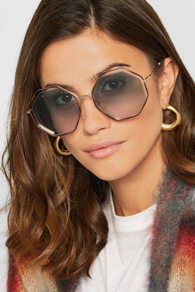 CHLOÉ Poppy pretty octagon-frame acetate and gold-tone sunglasses ... e33604331905