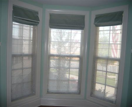 Roman shades to make for the bay window they are 2 for Roman shades for bay windows